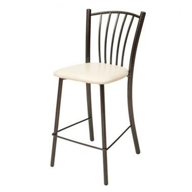 כיסאות: כיסא בר בעל רגלי מתכת שחורה דגם רינת