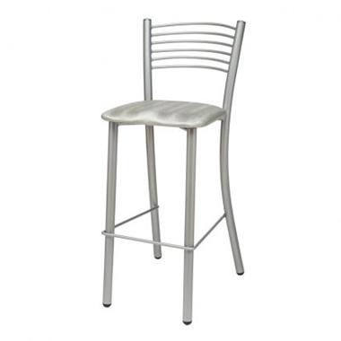 כיסאות: כיסא בר בעל רגלי מתכת כסופה דגם רזיאל