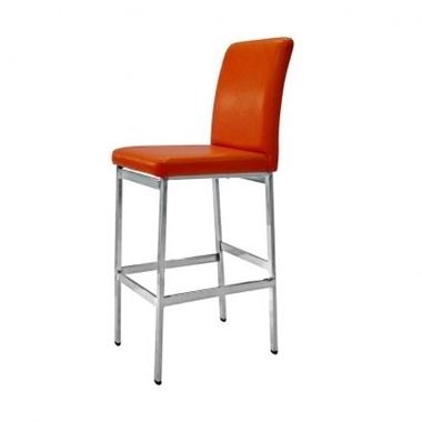 כיסאות: כיסא בר בעל רגלי מתכת כסופה דגם שושנה