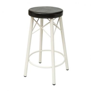 תמונה של כיסאות: כיסא בר בעל רגלי מתכת לבנה דגם קטיה