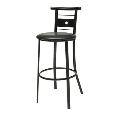 כיסאות: כיסא בר בעל רגלי מתכת שחורה דגם סמי