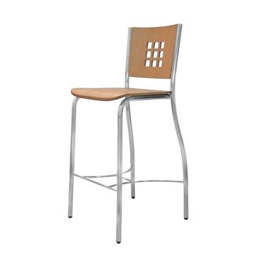 כיסאות: כיסא בר בעל רגלי ניקל דגם ורוניקה
