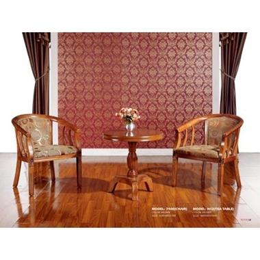פינות אוכל: פינת קפה 2 כיסאות פלוס שולחן מעץ בצבע חום שוקולד דגם שרון