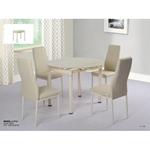 תמונה של פינות אוכל: שולחן עגול זכוכית נפתח +4 כיסאות דגם פירנצה