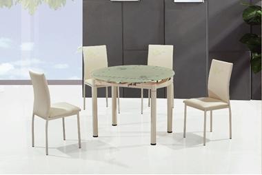 פינות אוכל: שולחן עגול זכוכית נפתח +4 כיסאות דגם פירנצה