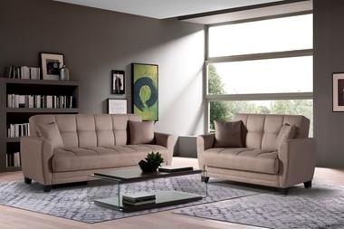 ספות ומערכות ישיבה:  סלון 2 + 3 דגם סופיה נפתח למיטה